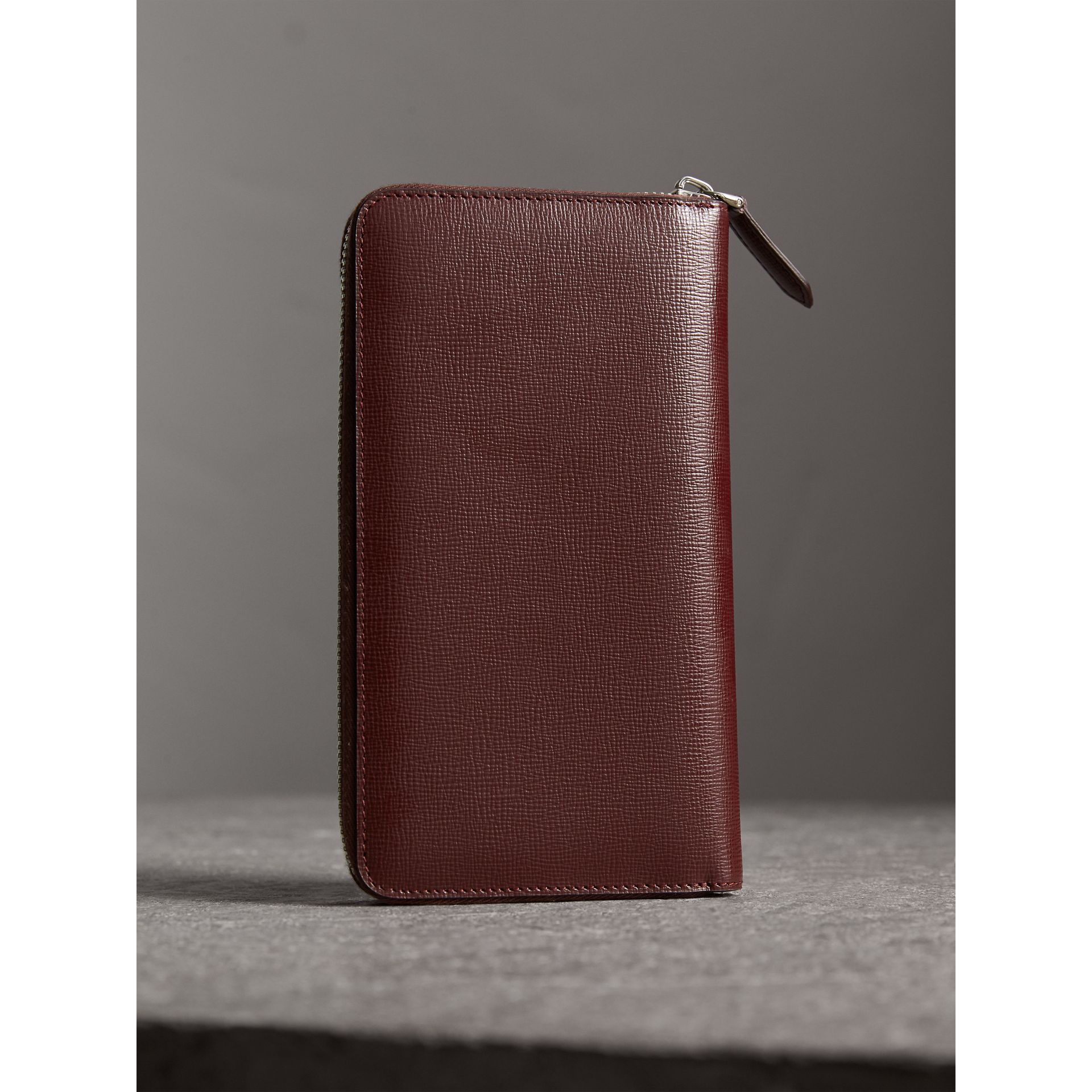 London Leather Ziparound Wallet in Burgundy Red - Men | Burberry United States - gallery image 3