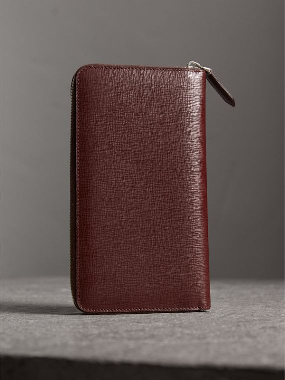 London Leather Ziparound Wallet in Burgundy Red | Burberry Australia - cell image 2