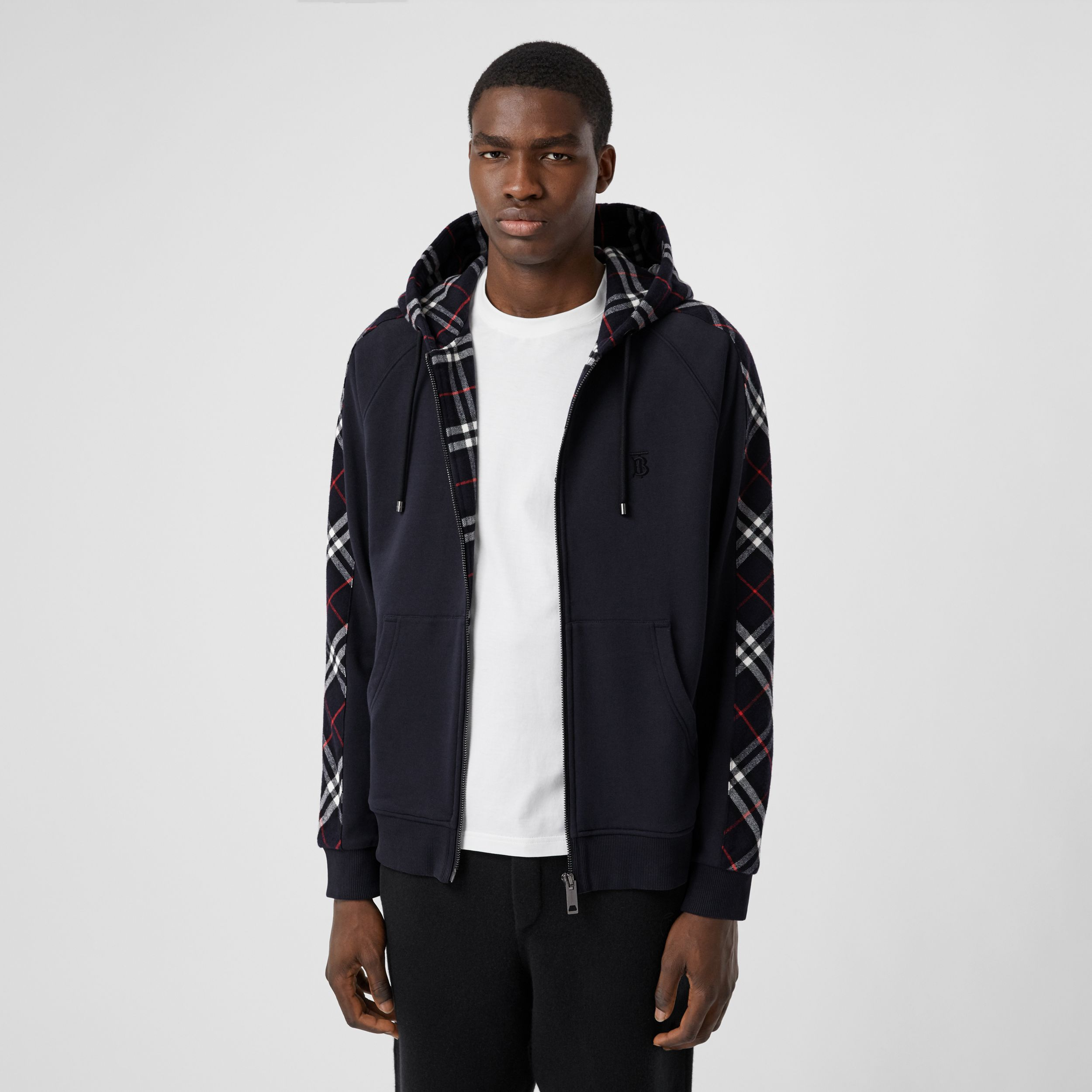 Vintage Check Panel Cotton Hooded Top in Navy - Men | Burberry - 1