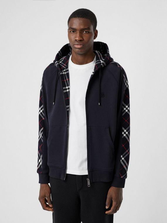 Vintage Check Panel Cotton Hooded Top in Navy