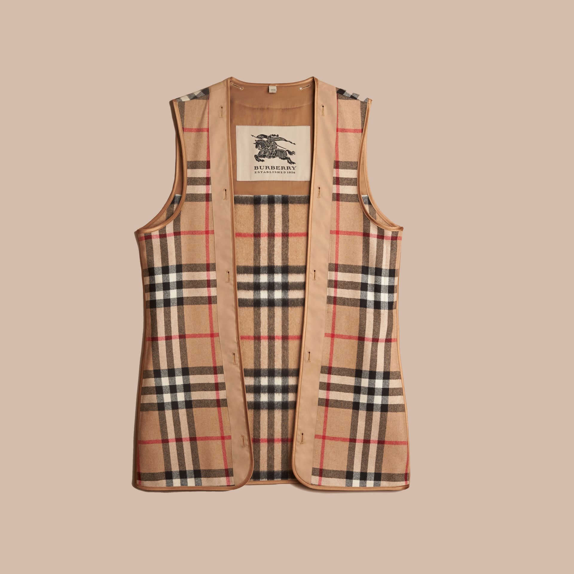 Kensington and Wiltshire Fit House Check Cashmere Wool Warmer in Camel - Men | Burberry - gallery image 0