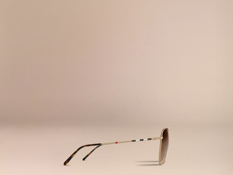 Pale gold Check Arm Pilot Sunglasses - cell image 4