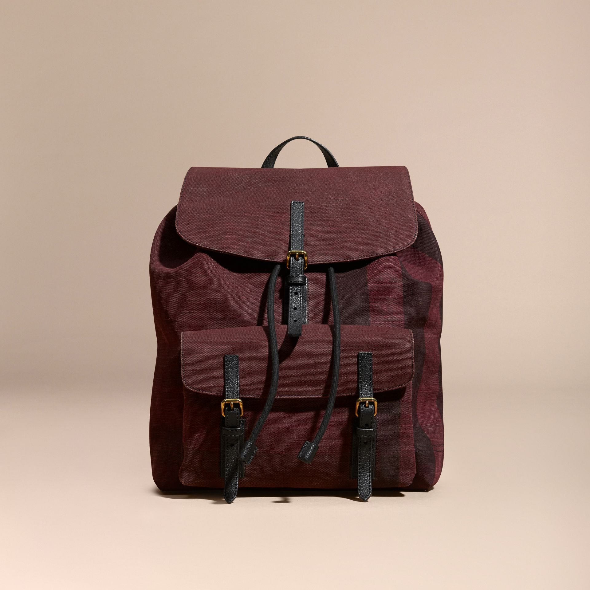 Claret Overdyed Canvas Check Backpack Claret - gallery image 8