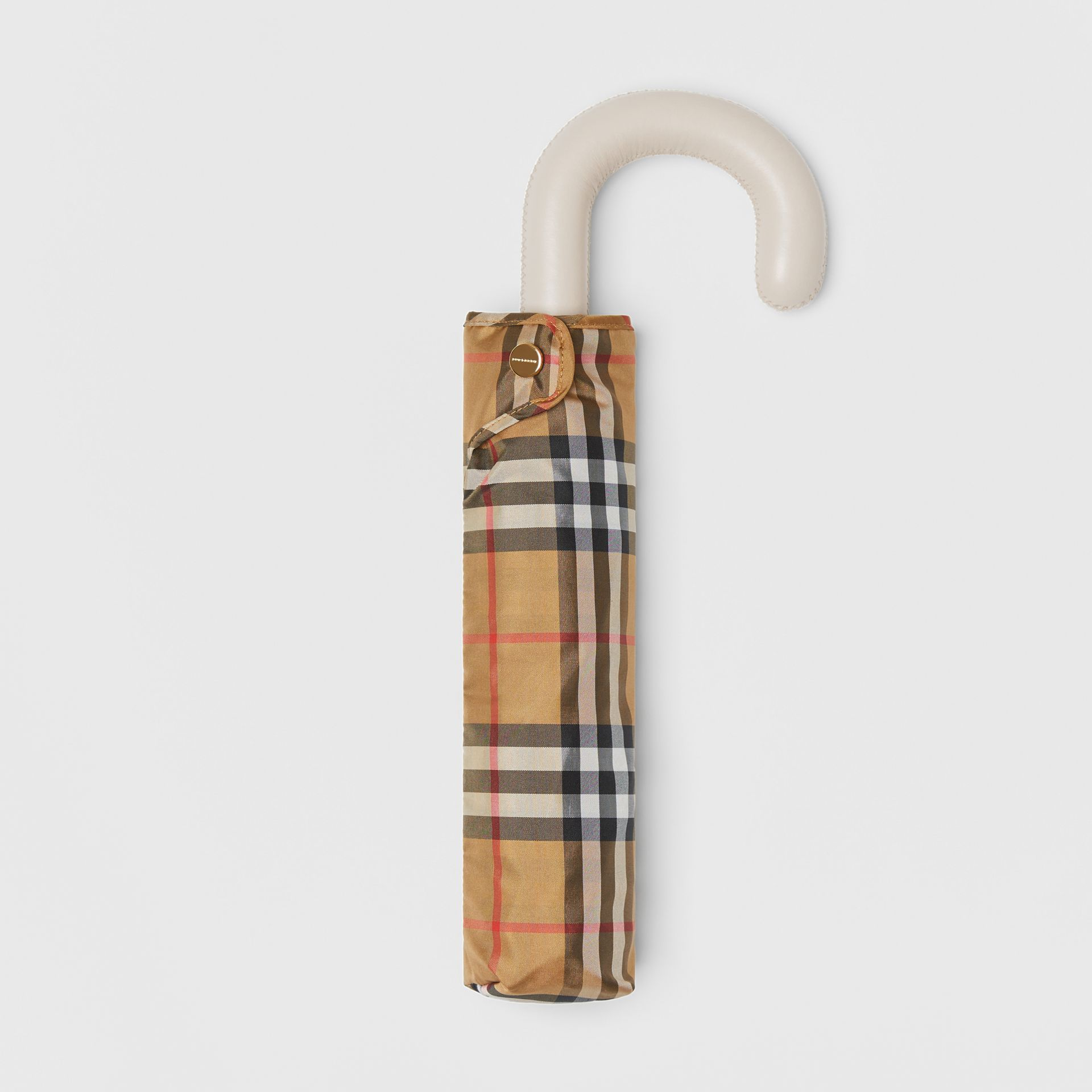 Vintage Check Folding Umbrella in Antique Yellow/limestone | Burberry - gallery image 0