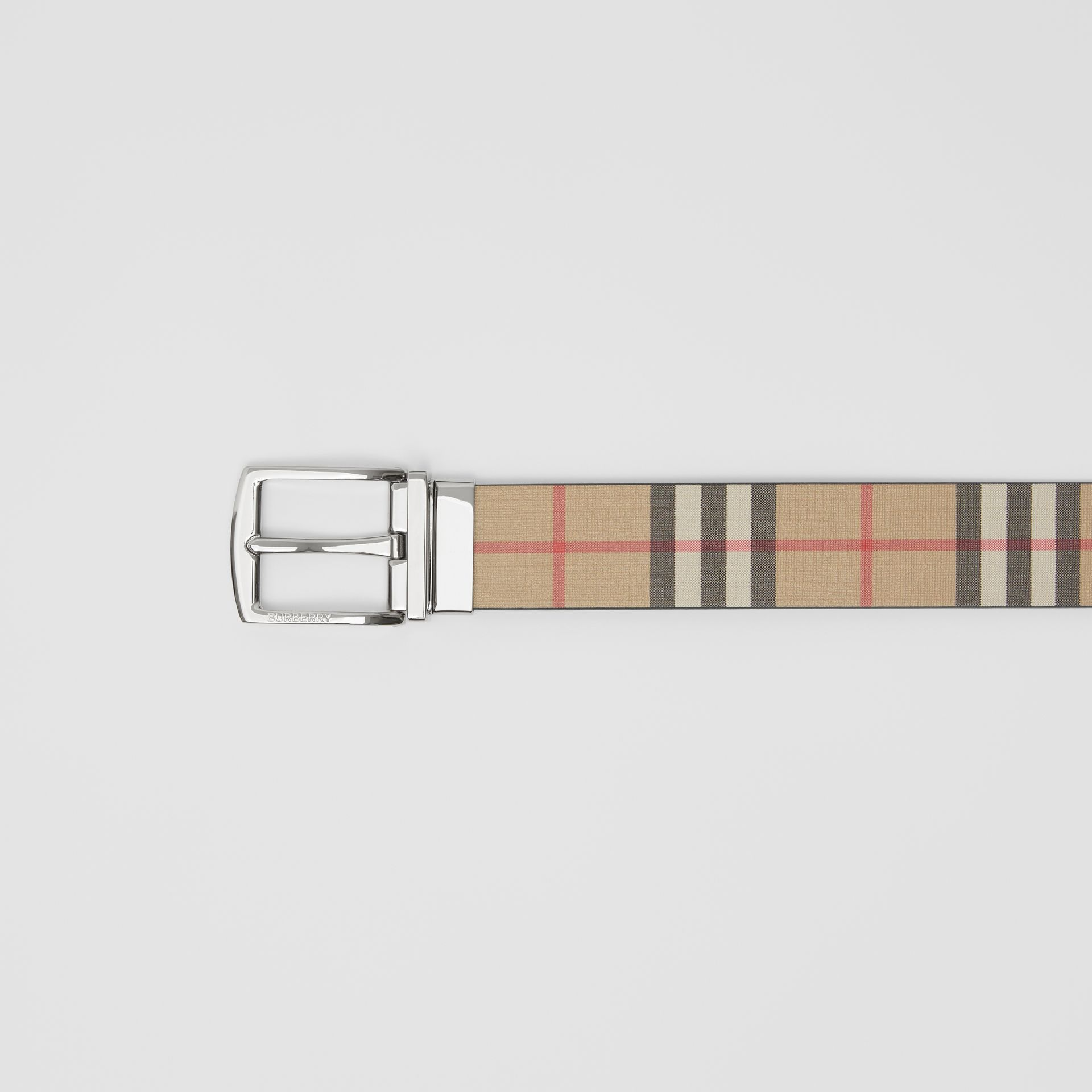 Reversible Vintage Check E-canvas and Leather Belt in Archive Beige - Men | Burberry - gallery image 1