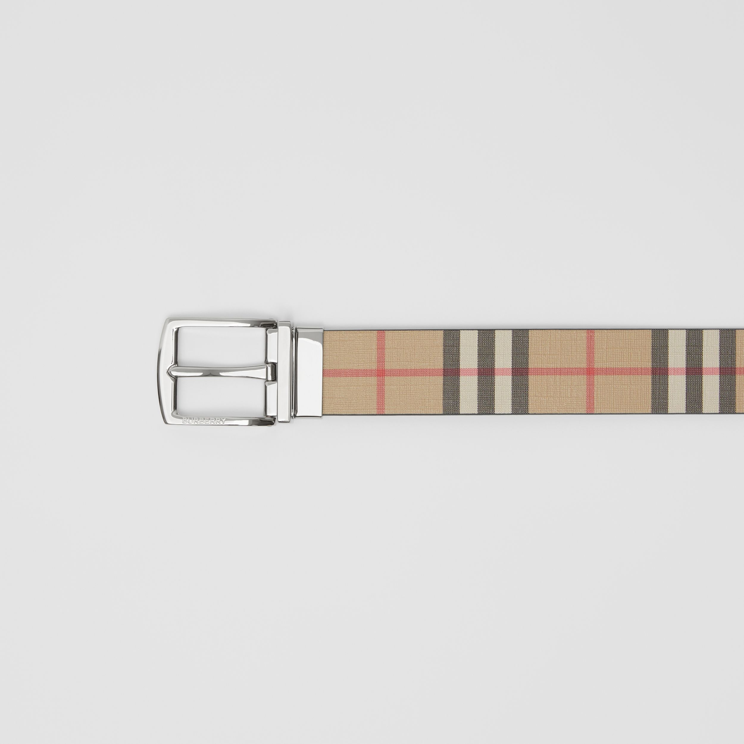 Reversible Vintage Check E-canvas and Leather Belt in Archive Beige - Men | Burberry United Kingdom - 2