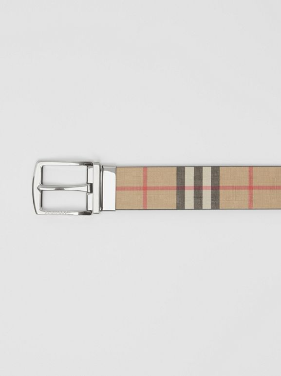 Reversible Vintage Check E-canvas and Leather Belt in Archive Beige - Men | Burberry - cell image 1
