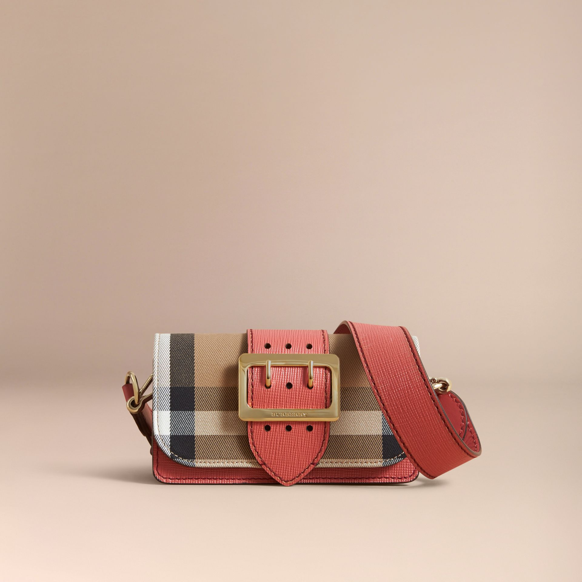 The Small Buckle Bag in House Check and Leather in Cinnamon Red - Women | Burberry - gallery image 8