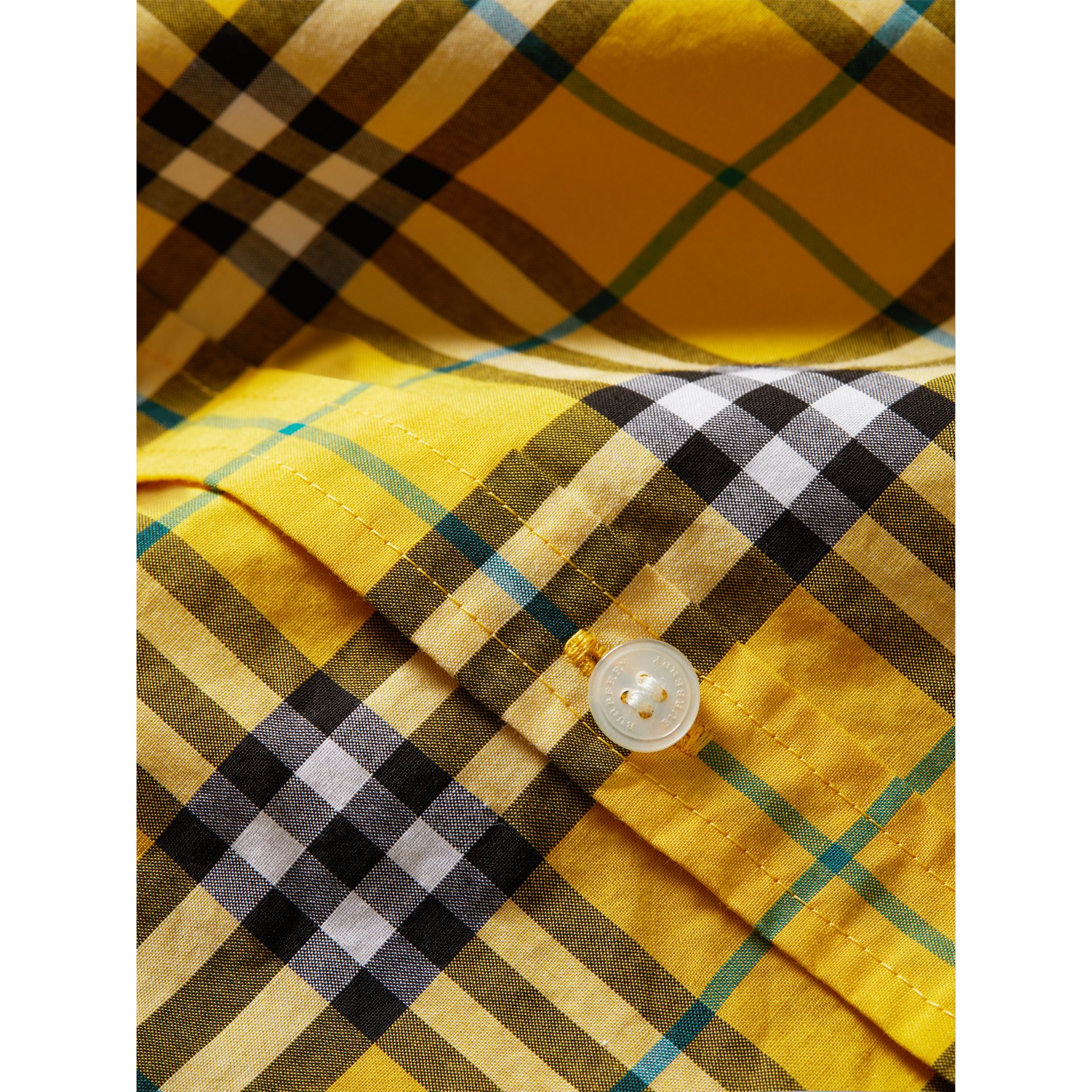 Short-sleeve Check Cotton Shirt in Bright Yellow - Boy | Burberry - gallery image 1