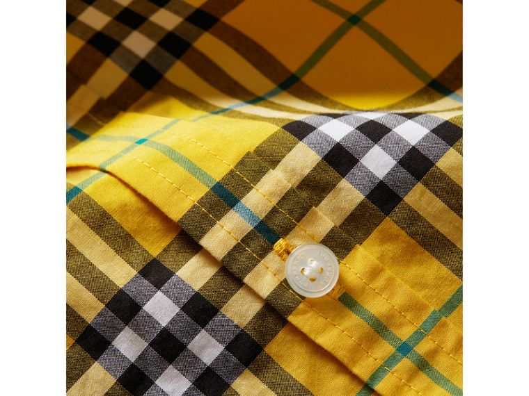 Short-sleeve Check Cotton Shirt in Bright Yellow - Boy | Burberry - cell image 1
