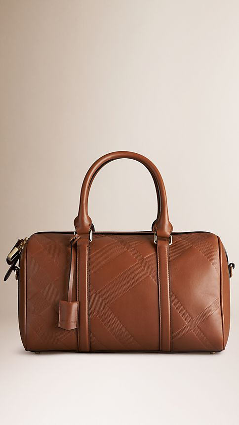 Tan The Medium Alchester in Embossed Check Leather - Image 1