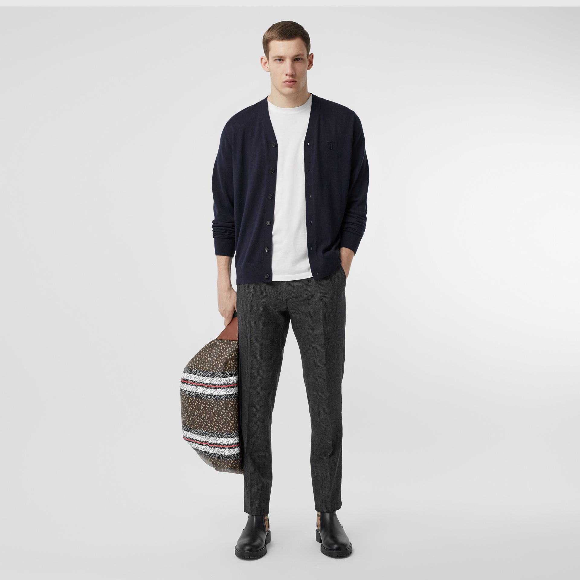 Monogram Motif Cashmere Cardigan in Navy - Men | Burberry - gallery image 0