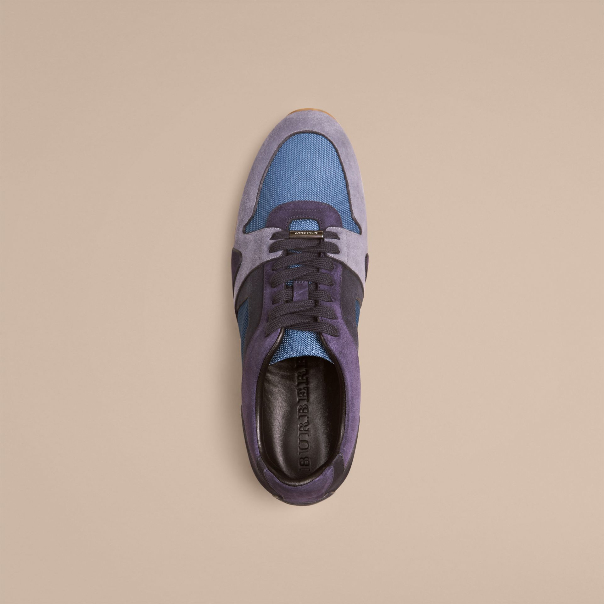 Vintage blue The Field Sneaker in Colour Block Suede and Mesh Vintage Blue - gallery image 2