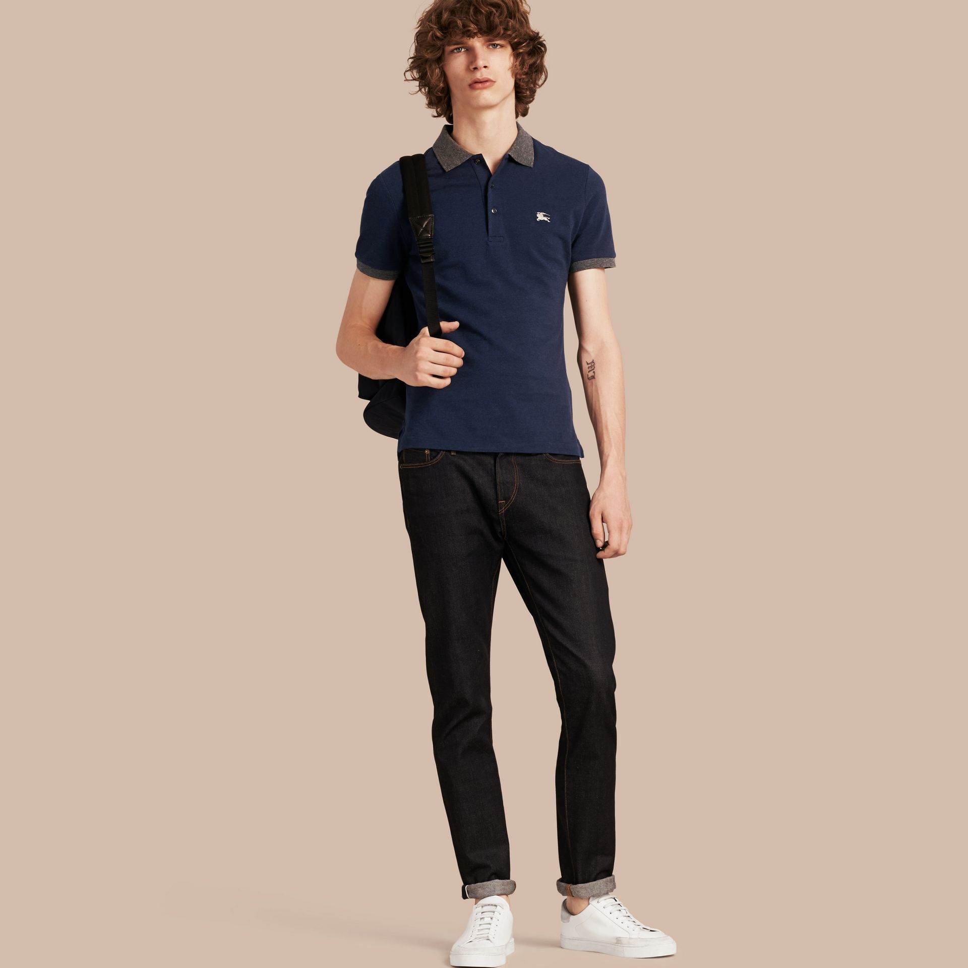 Navy melange Contrast Colour Detail Cotton Piqué Polo Shirt Navy Melange - gallery image 1