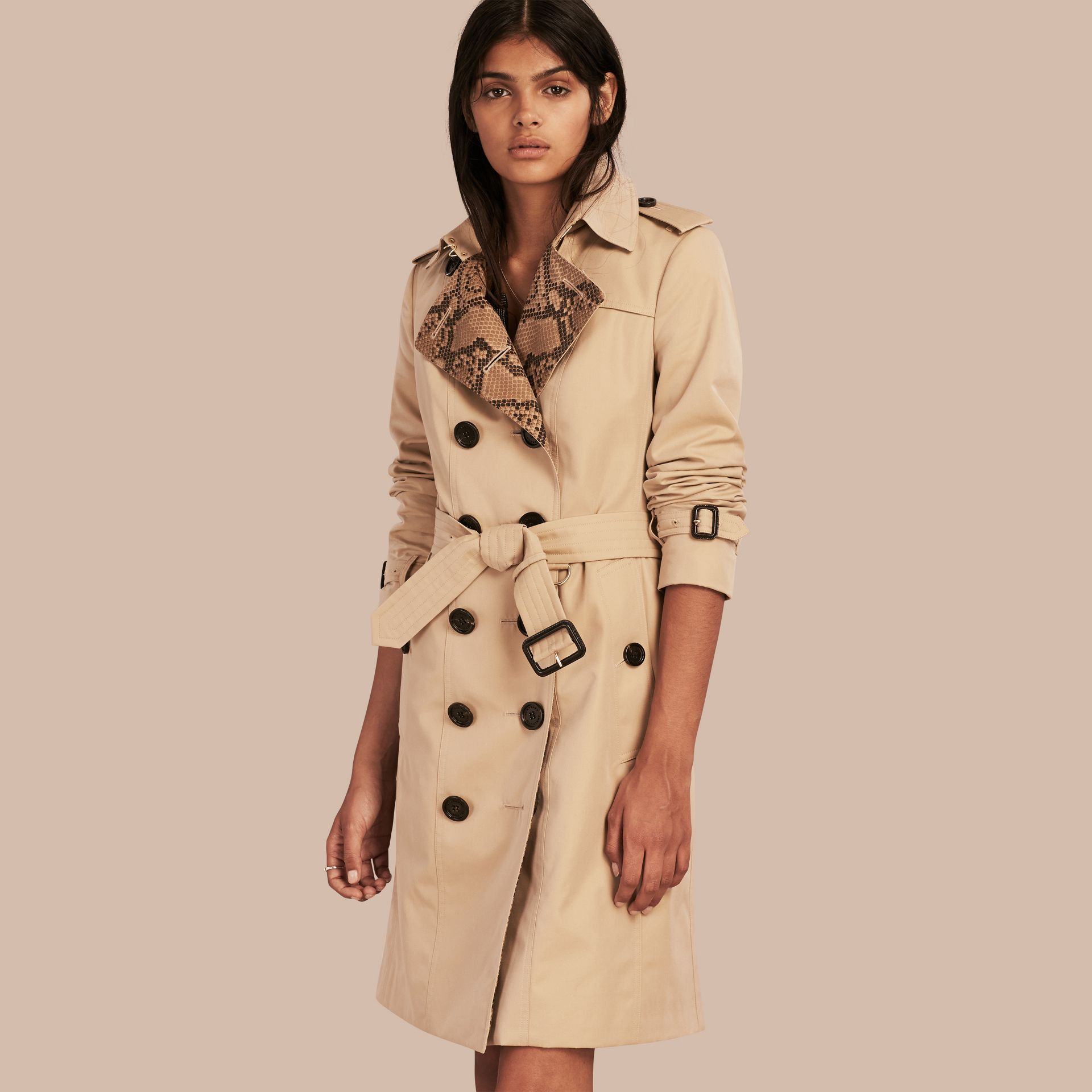 Honey Python Print Detail Cotton Gabardine Trench Coat - gallery image 1
