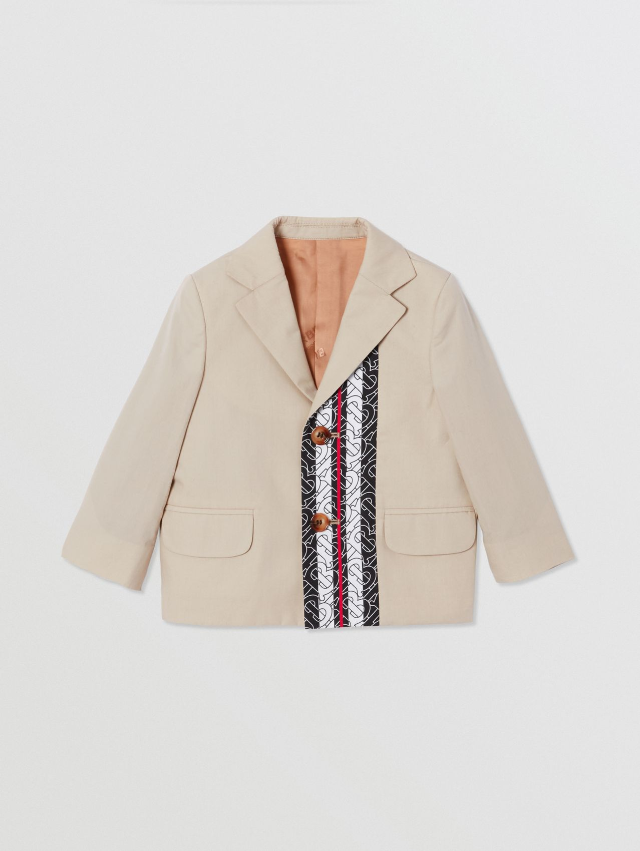 Monogram Stripe Print Cotton Blazer in Stone