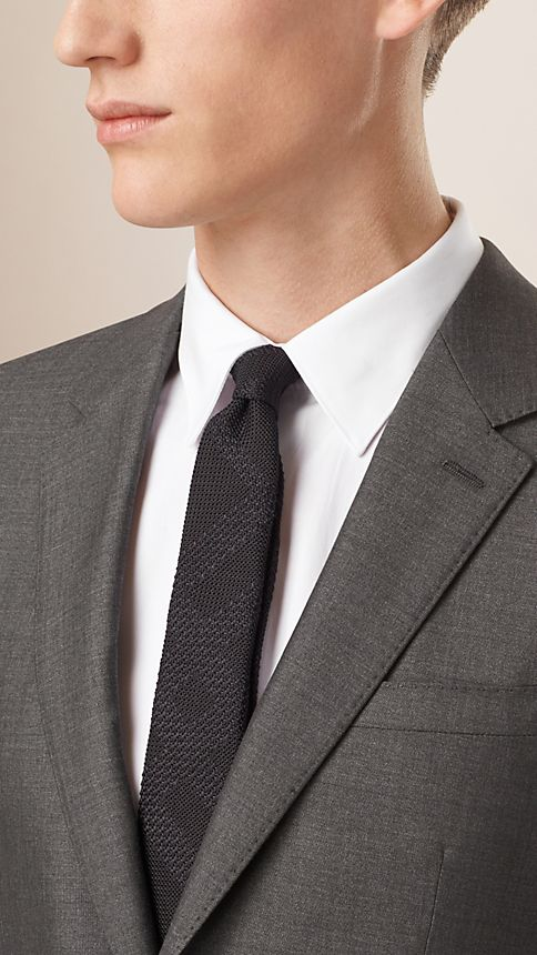 Dark grey melange Slim Fit Wool Silk Half-canvas Suit - Image 3