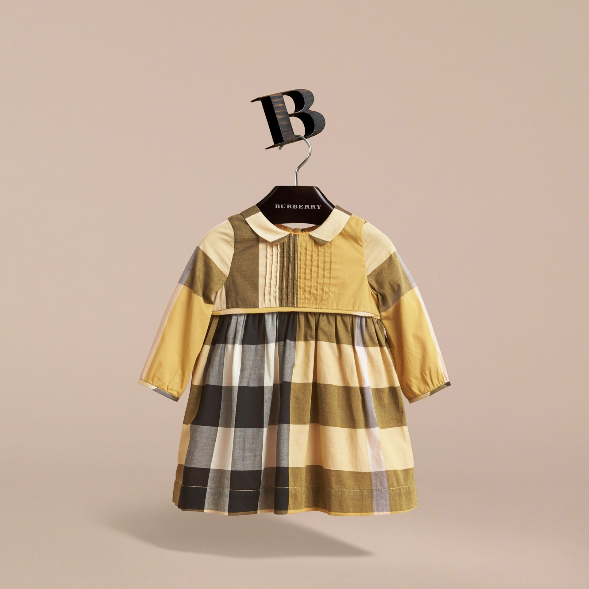 Long-sleeve Check Pintuck Bib Cotton Dress in Yellow Quartz | Burberry - gallery image 3