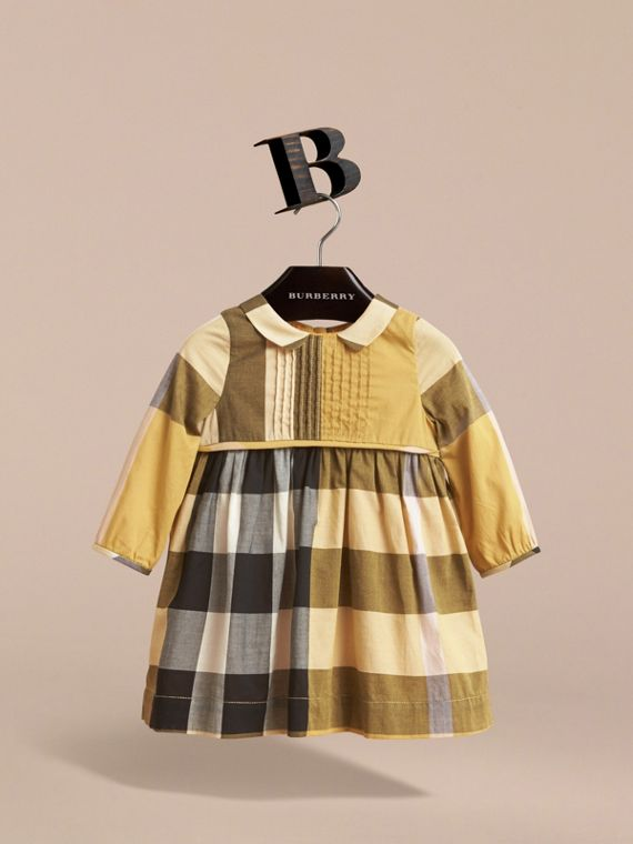 Long-sleeve Check Pintuck Bib Cotton Dress in Yellow Quartz | Burberry - cell image 2