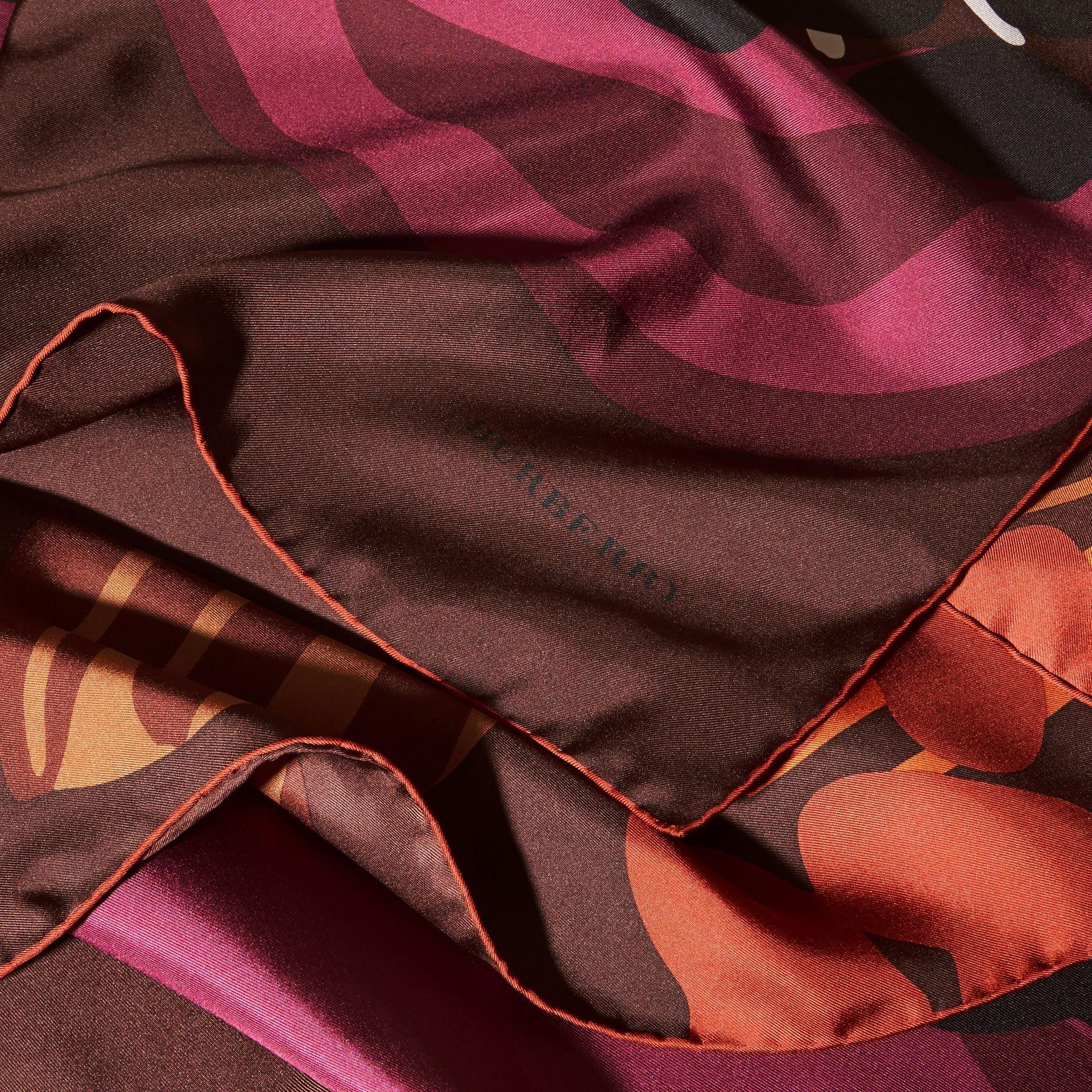 Deep burgundy Floral Silk Twill Square – Medium Deep Burgundy - gallery image 2