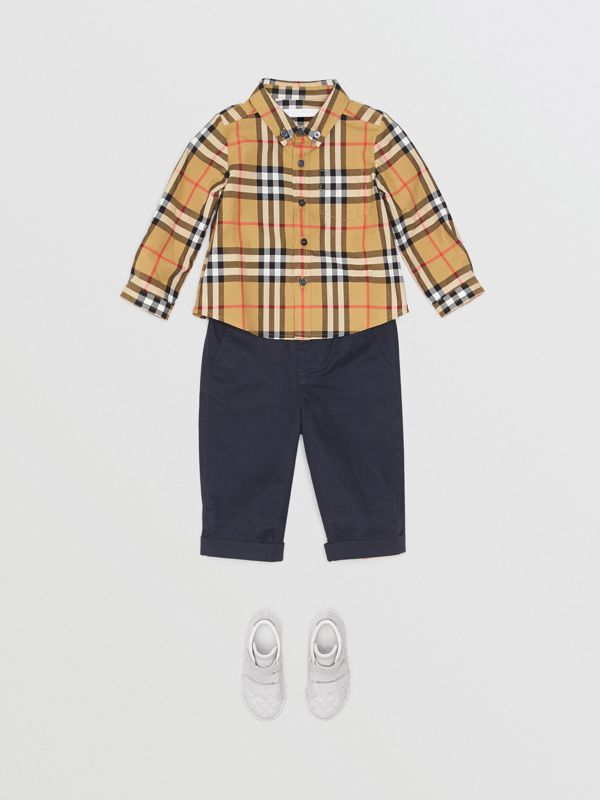 Button-down Collar Vintage Check Cotton Shirt in Antique Yellow - Children | Burberry - cell image 2