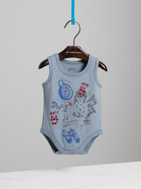 Adventure Motif Cotton Jersey Bodysuit in Opal Blue