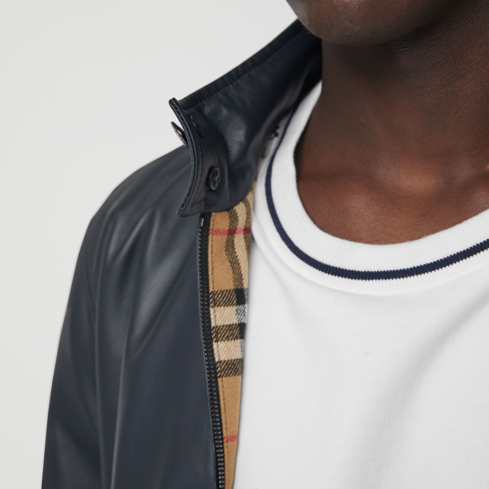 Lambskin Harrington Jacket in Navy - Men | Burberry Canada - gallery image 1