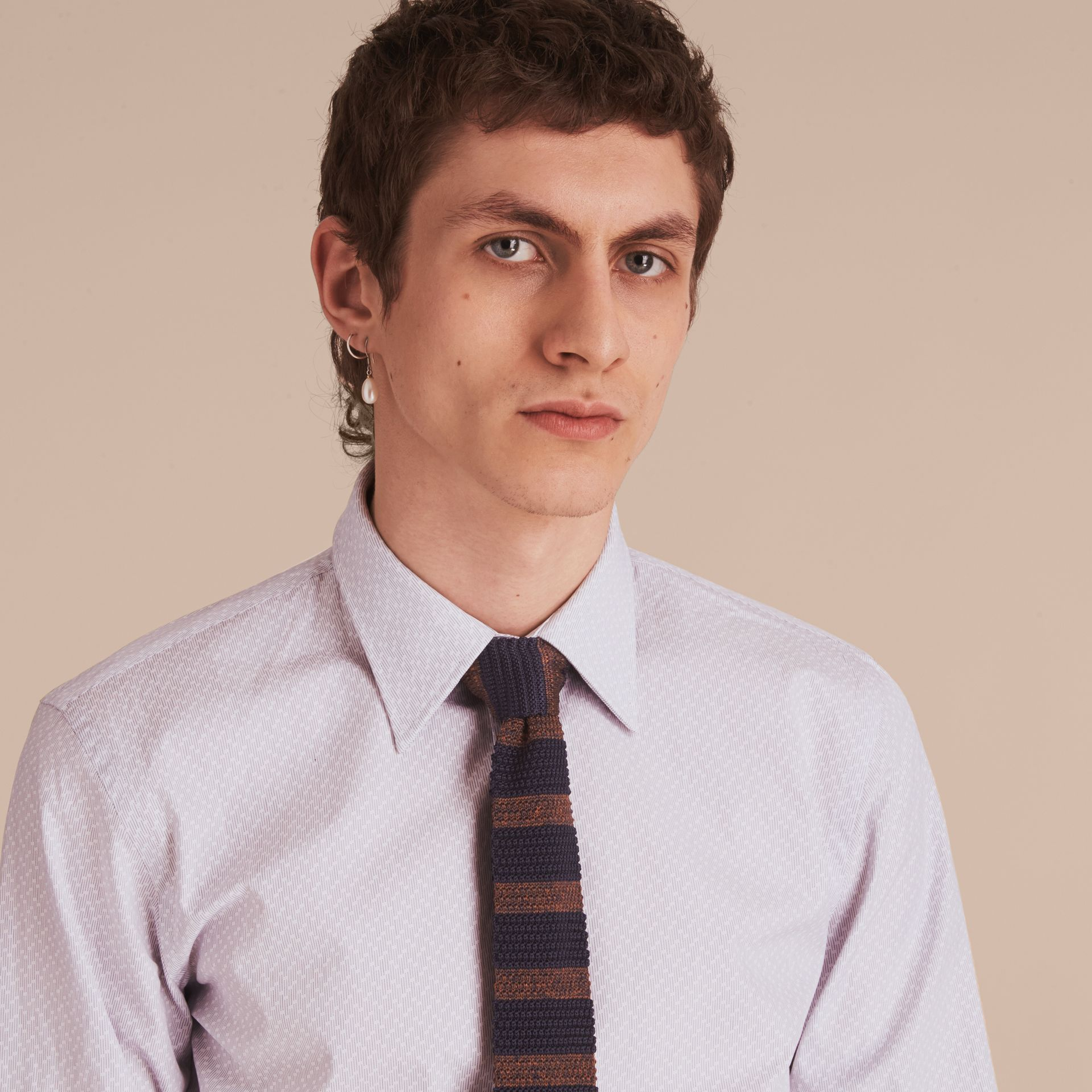 Slim Fit Striped Geometric Dobby Cotton Shirt in Pale Navy - Men | Burberry - gallery image 5