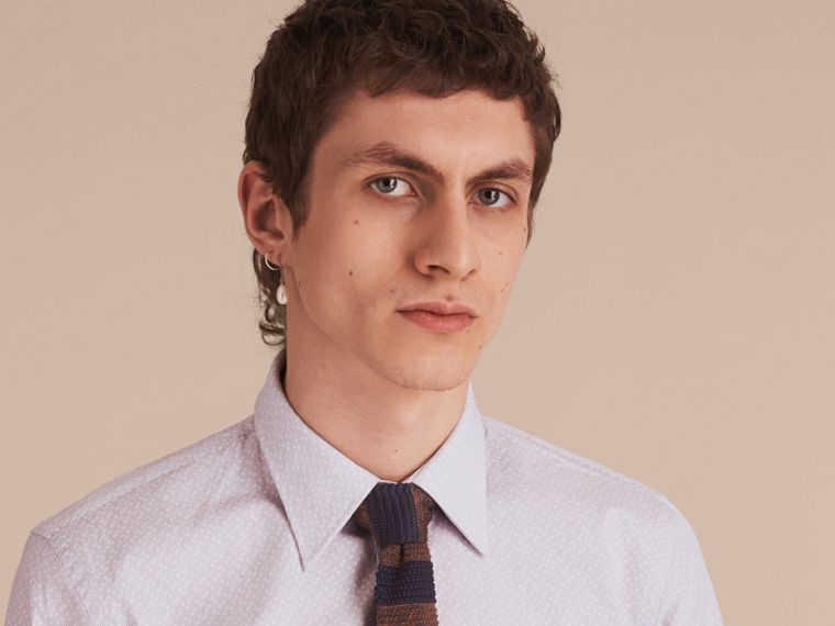 Slim Fit Striped Geometric Dobby Cotton Shirt in Pale Navy - Men | Burberry - cell image 4
