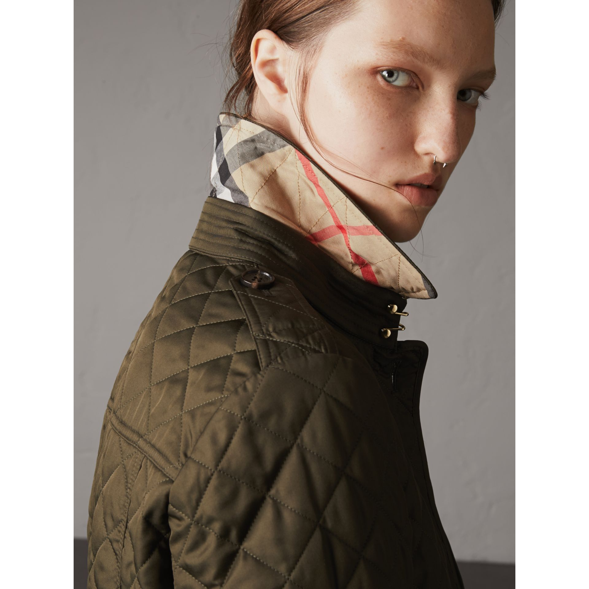 Diamond Quilted Jacket in Dark Olive - Women | Burberry Singapore - gallery image 7