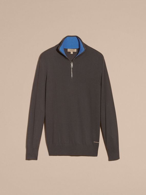 Zip-collar Cashmere Sweater in Mid Grey Melange - Men | Burberry - cell image 3
