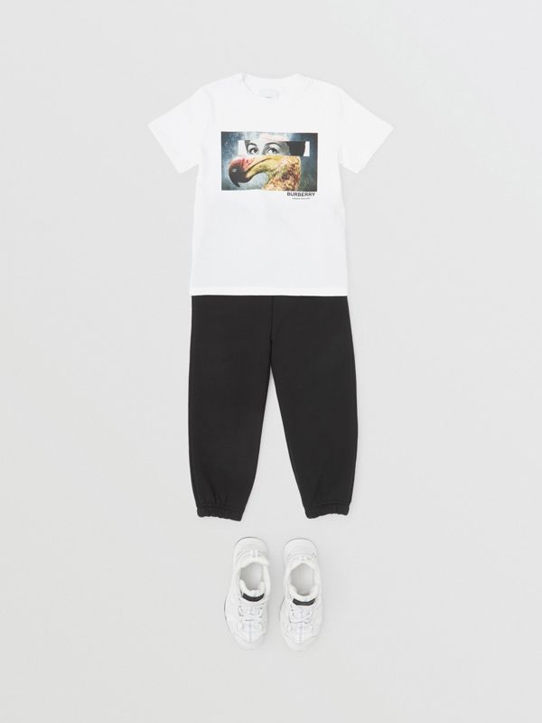 Collage Print Cotton T-shirt in White | Burberry - cell image 3