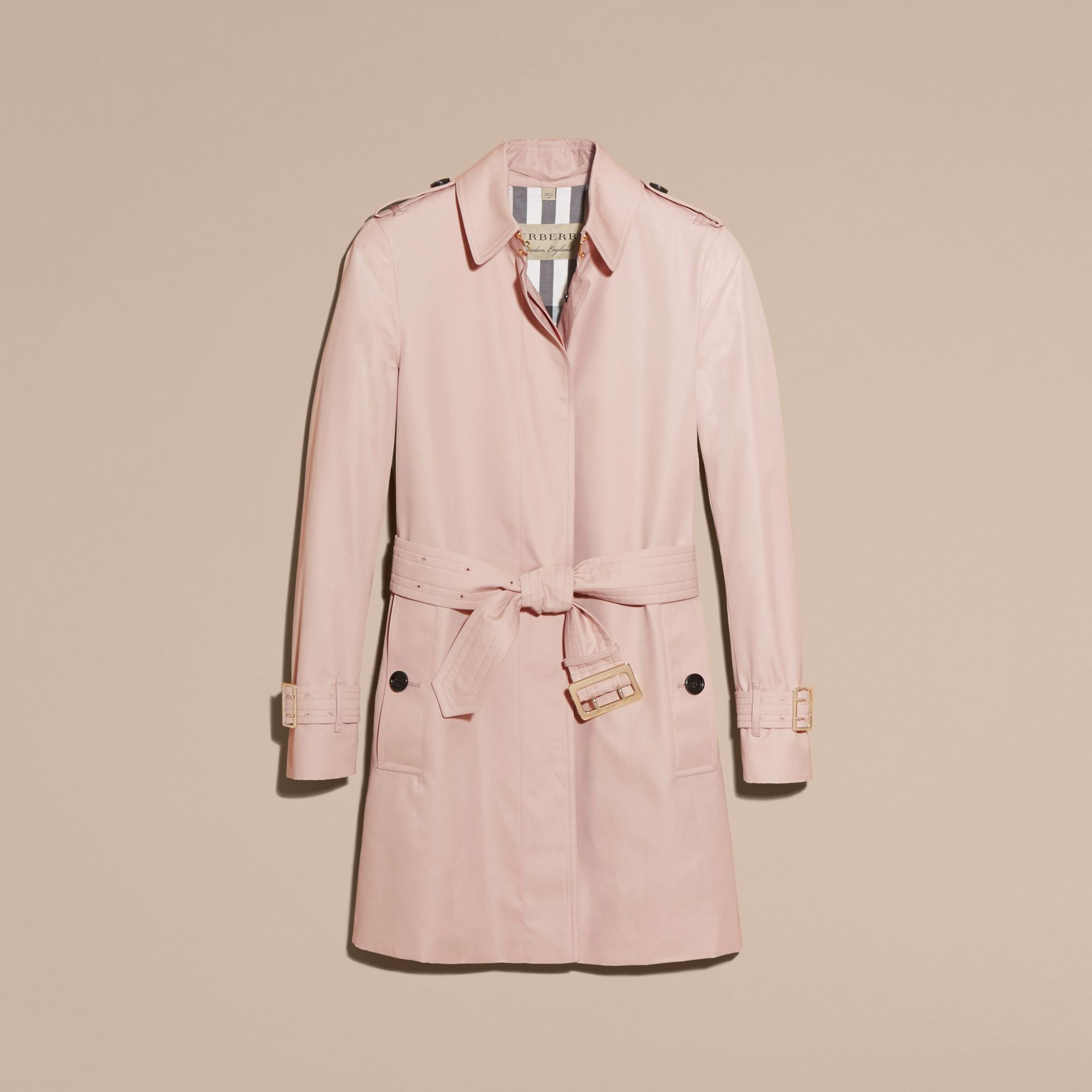 Single-breasted Trench Coat with Metal Buckle Detail Ice Pink - gallery image 4