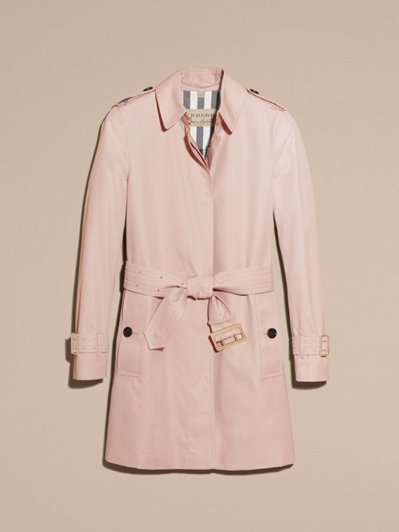 Single-breasted Trench Coat with Metal Buckle Detail Ice Pink - cell image 3