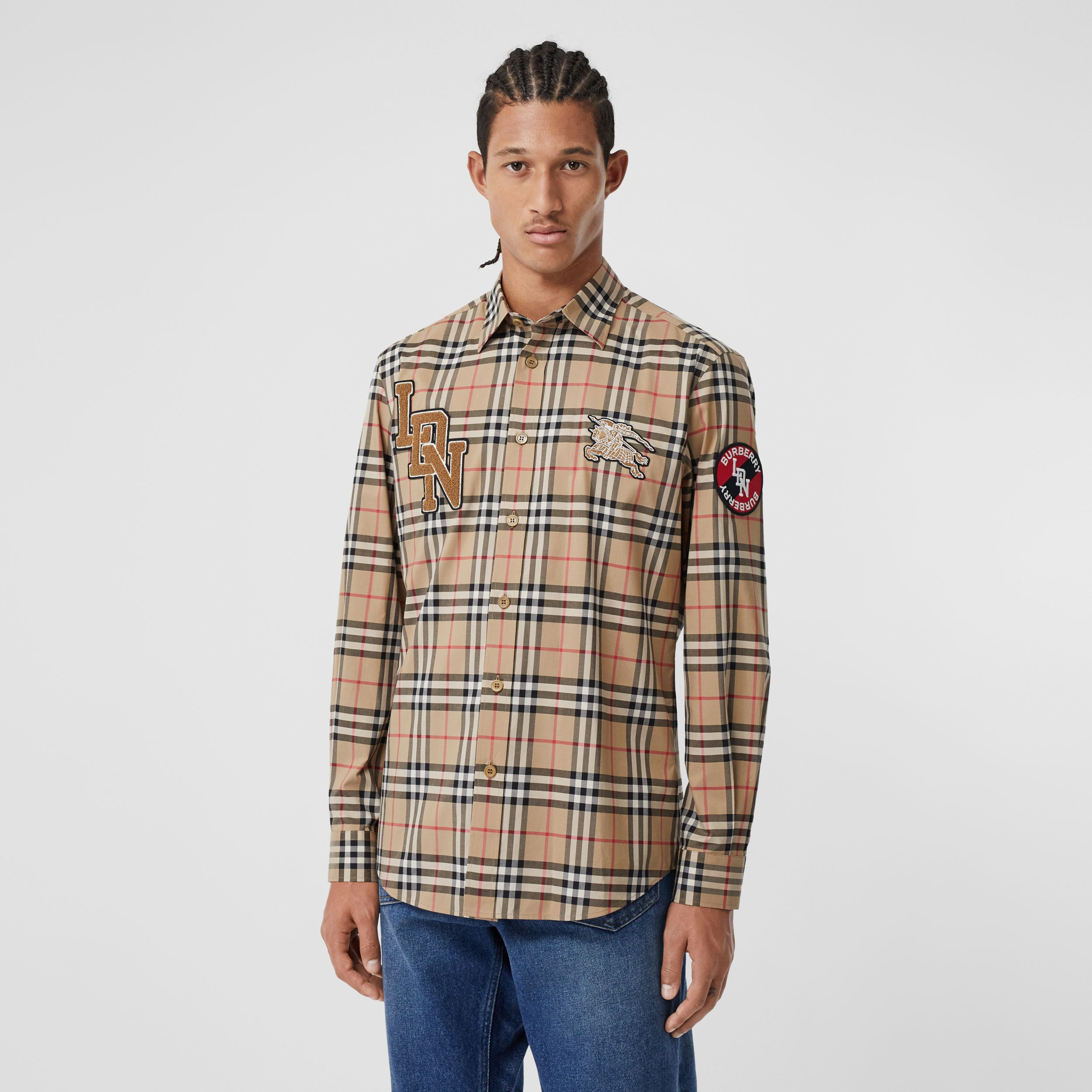 Classic Fit Logo Graphic Vintage Check Cotton Shirt in Archive Beige - Men | Burberry - 1