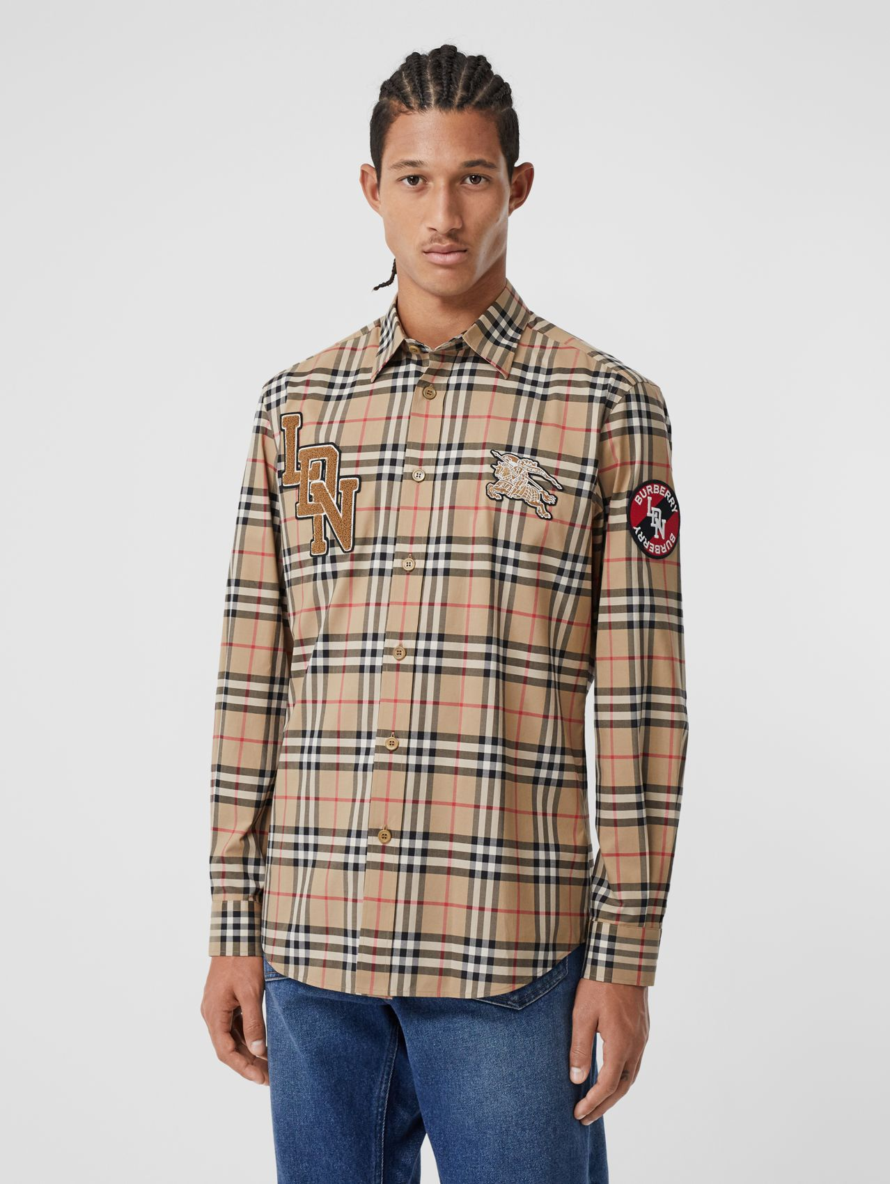 Classic Fit Logo Graphic Vintage Check Cotton Shirt in Archive Beige