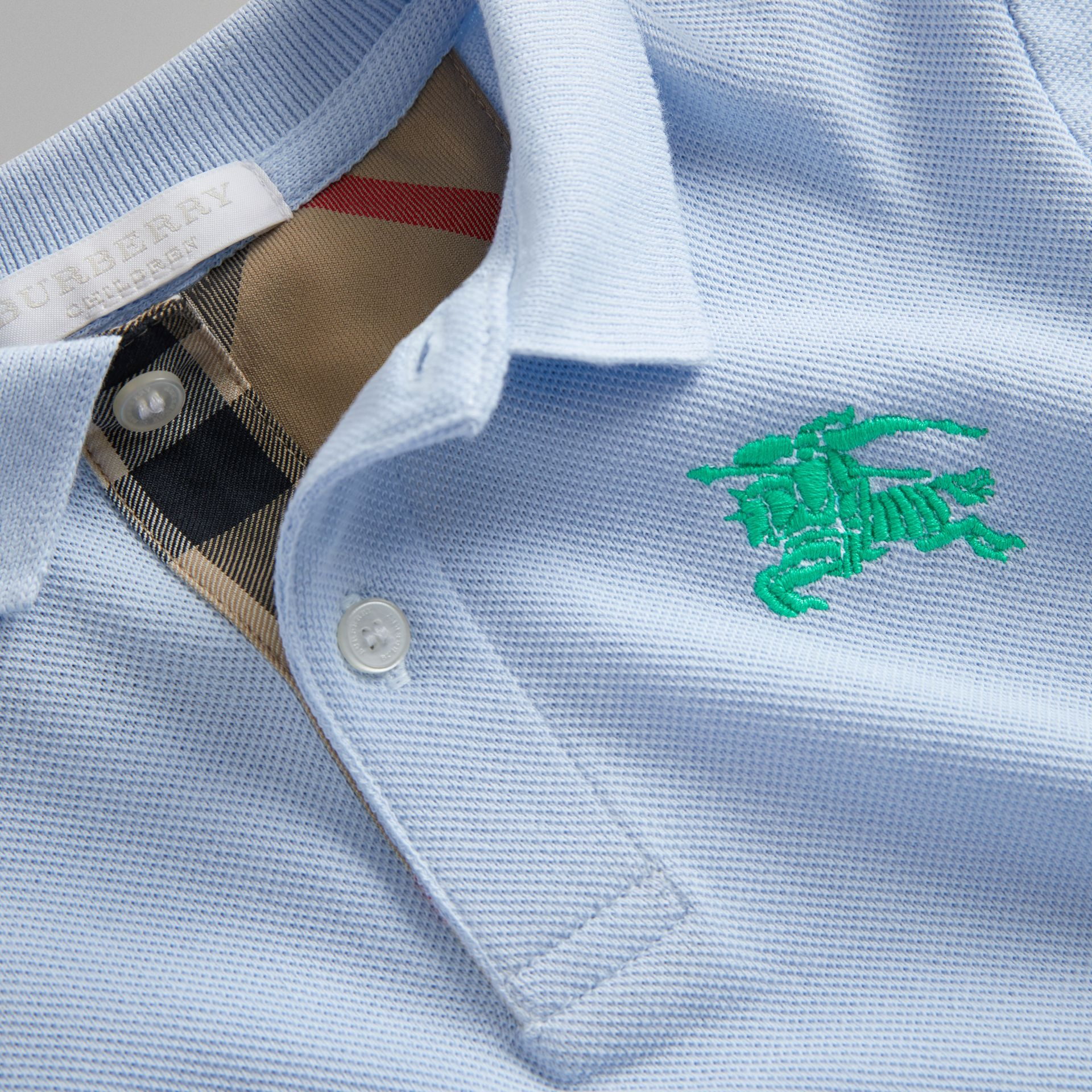 Check Placket Polo Shirt in Sky Blue - Boy | Burberry United Kingdom - gallery image 1
