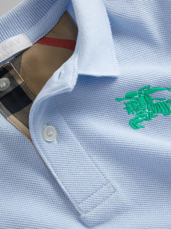 Check Placket Polo Shirt in Sky Blue - Boy | Burberry - cell image 1