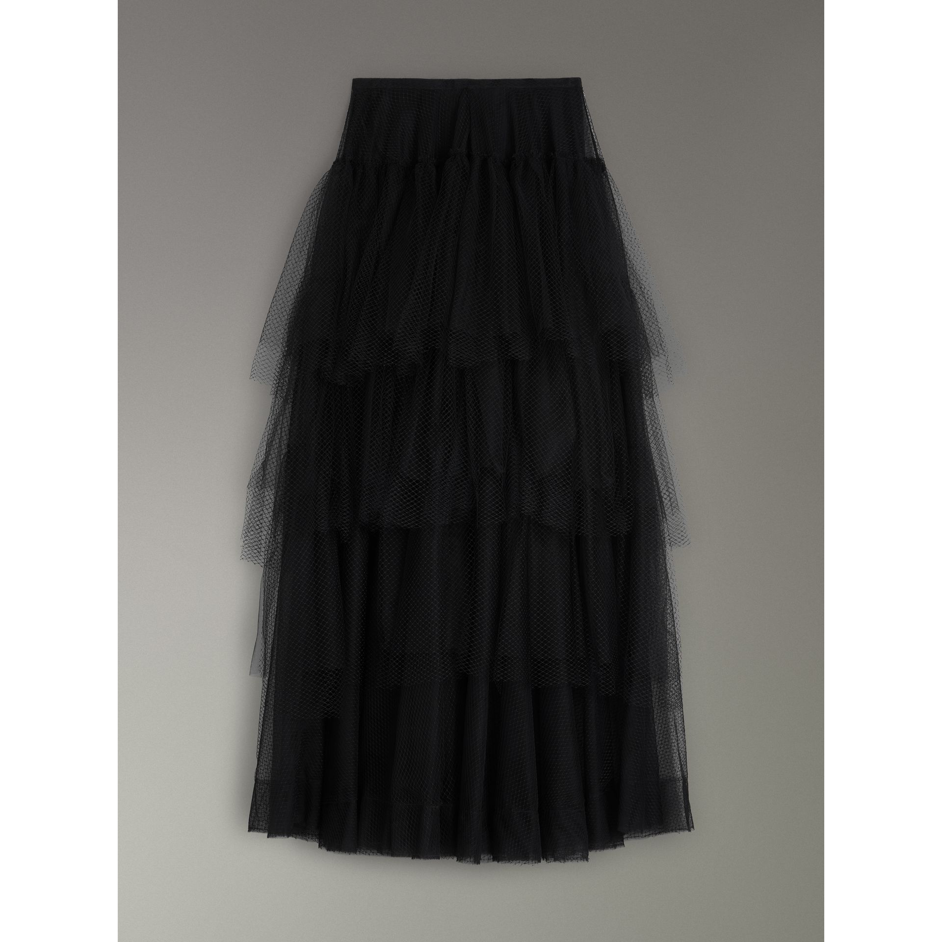Tiered Open-net Tulle Skirt in Black - Women | Burberry United Kingdom - gallery image 3