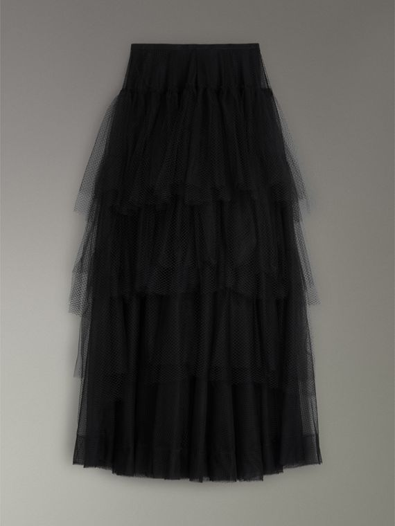 Tiered Open-net Tulle Skirt in Black - Women | Burberry - cell image 3