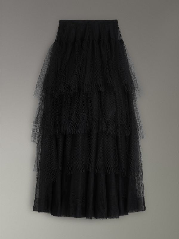 Tiered Open-net Tulle Skirt in Black - Women | Burberry United States - cell image 3