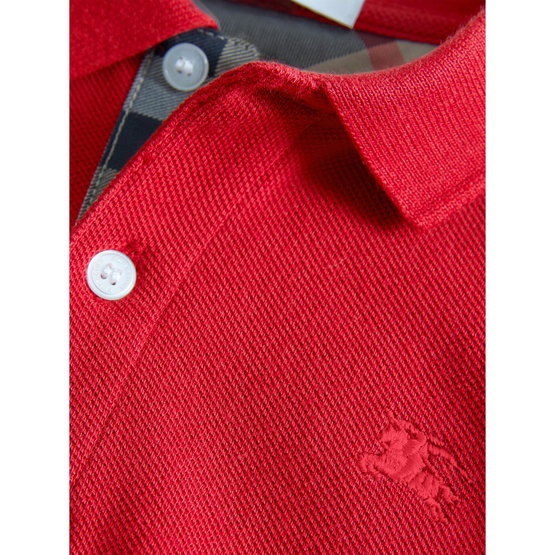 Check Placket Polo Shirt in Military Red - Boy | Burberry - gallery image 1