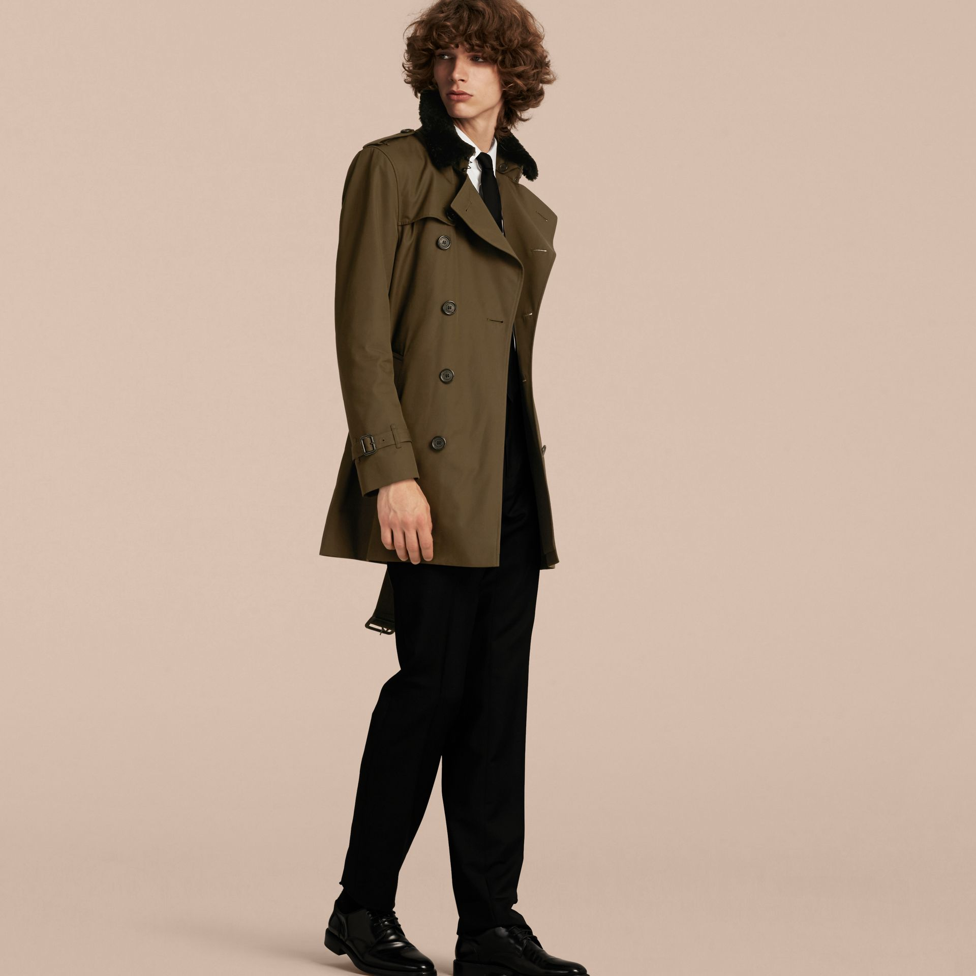 Detachable Shearling Topcollar Cotton Gabardine Trench Coat with Warmer in Olive Green - gallery image 7