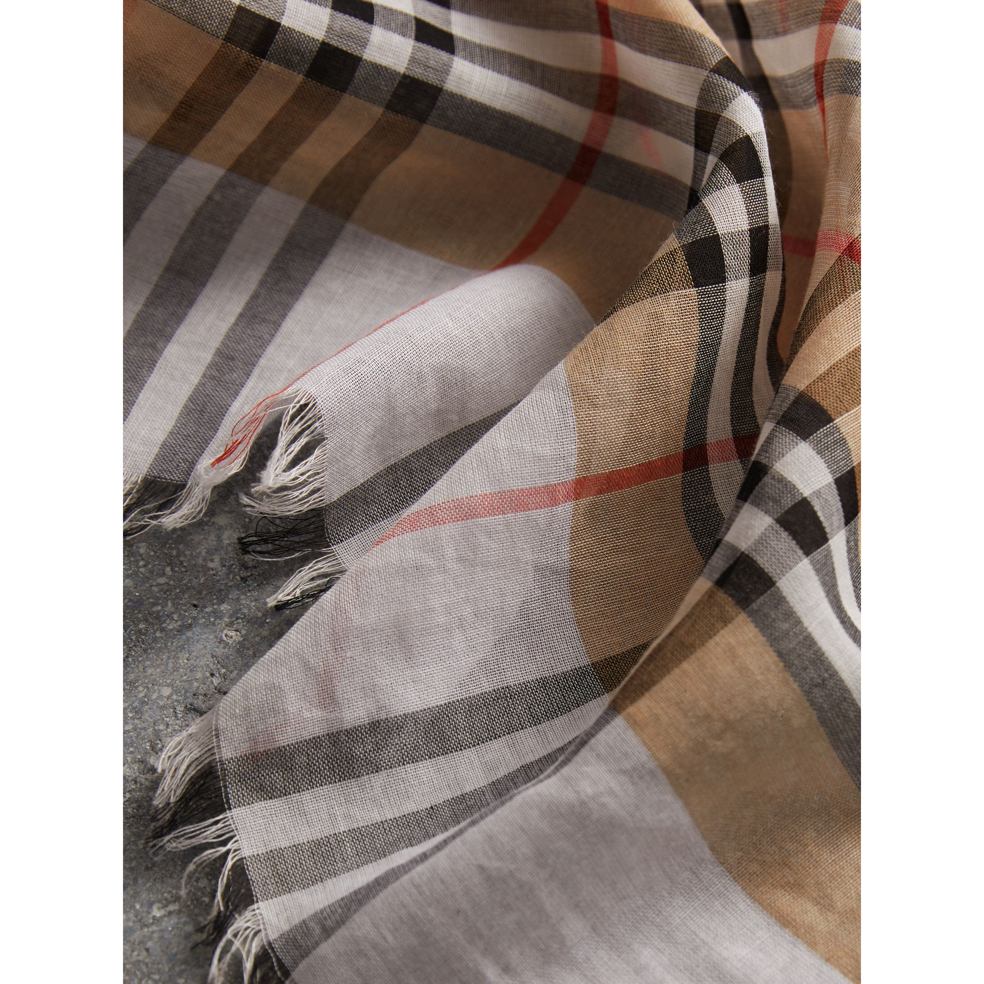 Two-tone Vintage Check Cotton Square Scarf in White | Burberry Australia - gallery image 1