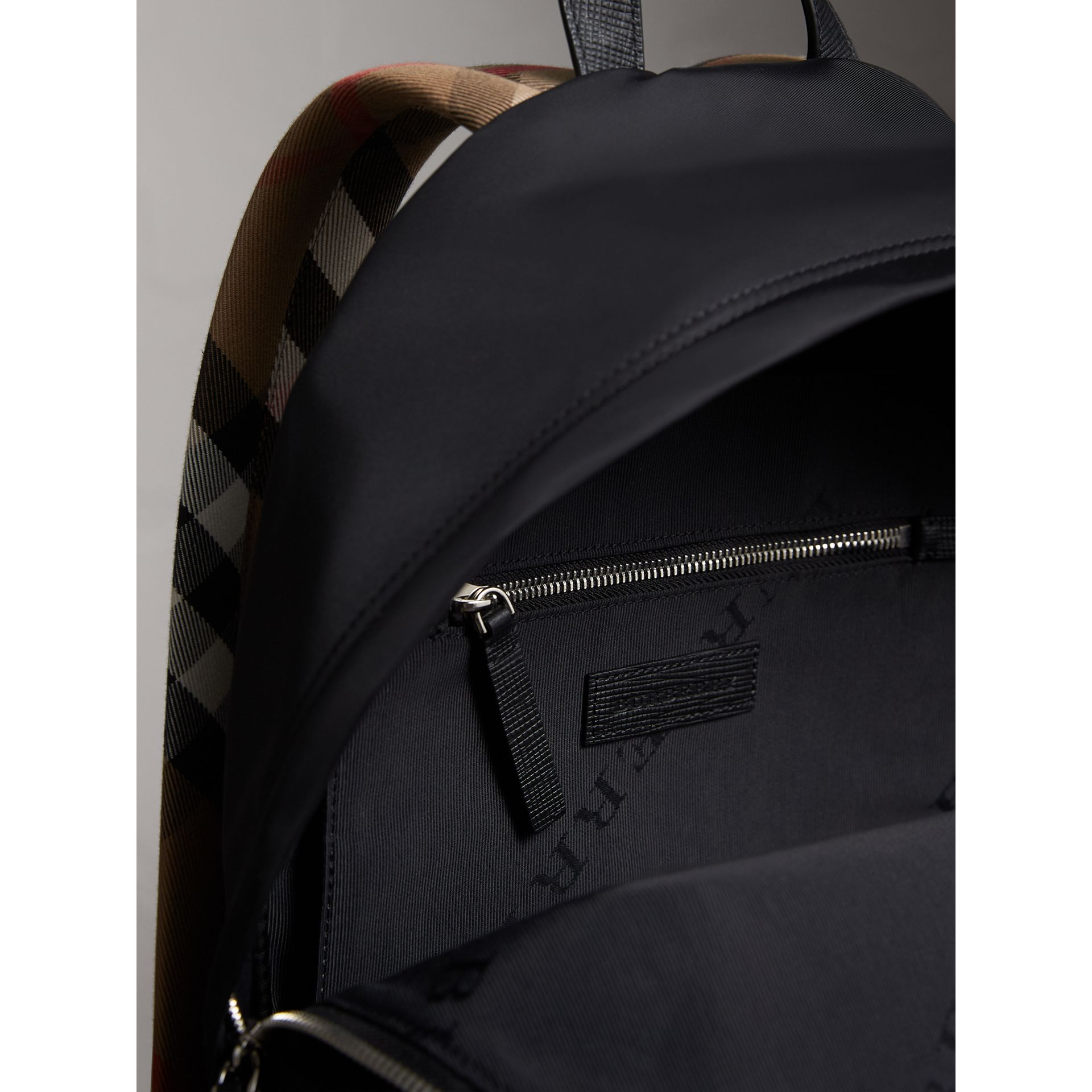 Leather Trim Nylon Backpack with Check Detail in Black - Men | Burberry - gallery image 5
