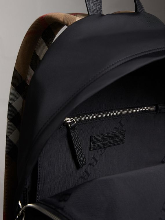 Leather Trim Nylon Backpack with Check Detail - Men | Burberry - cell image 3