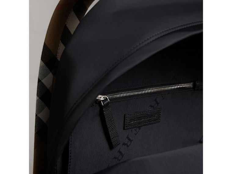 Leather Trim Nylon Backpack with Check Detail in Black - Men | Burberry - cell image 4