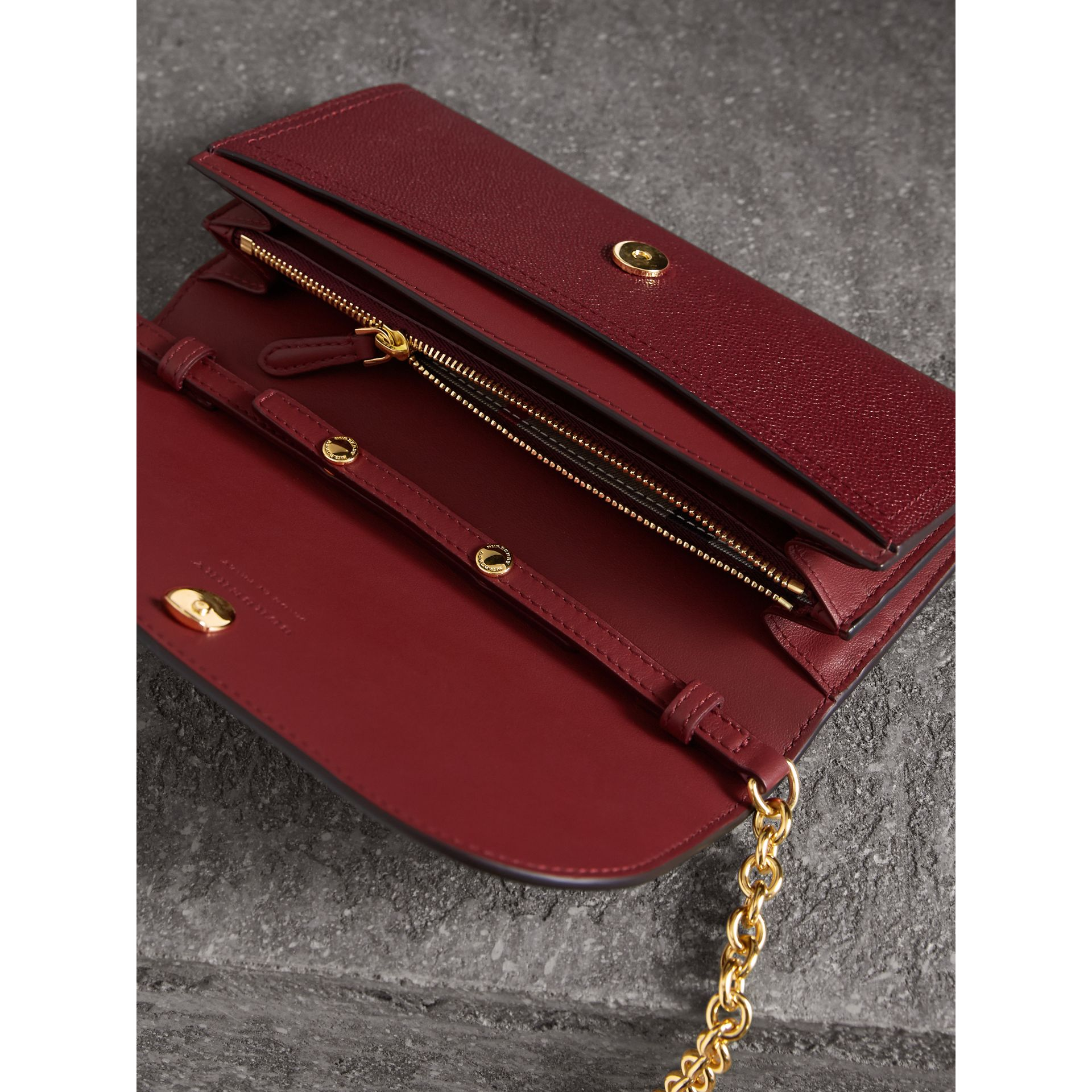 Leather Wallet with Chain in Burgundy - Women | Burberry - gallery image 7
