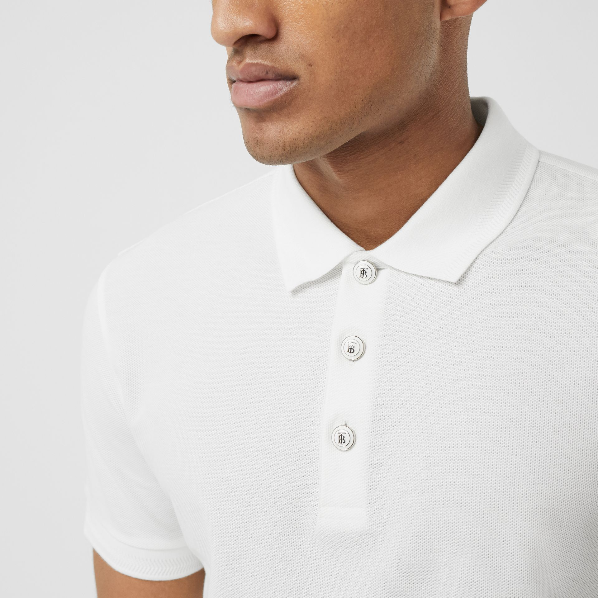 Cotton Piqué Polo Shirt in White - Men | Burberry United Kingdom - gallery image 1