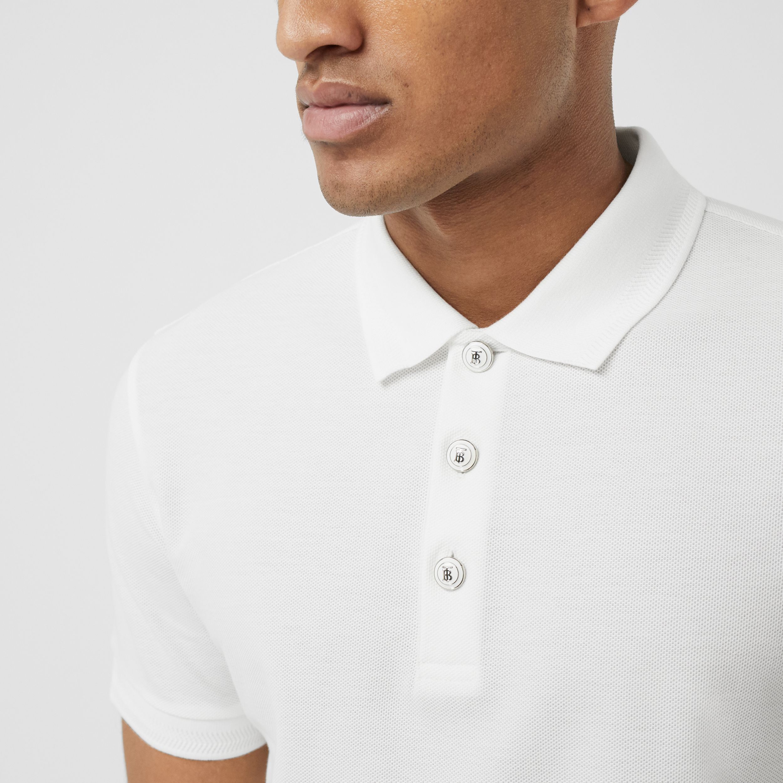Cotton Piqué Polo Shirt in White - Men | Burberry - 2